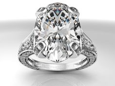 Large Oval Diamond Cathedral Graduated pave Engagement Ring