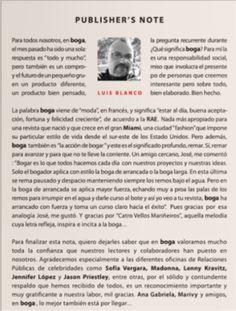 BOGA Publisher's Note. Luis Blanco