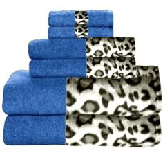 Snow Leopard & Misty Blue Bordering Africa Bath Towels  $11.00-$27.00 SALE $10.00-$24.00 towel 11002700, leopard print, 11002700 sale, bath towel, border africa, africa bath, sale 10002400, snow leopard, leopard bathroom