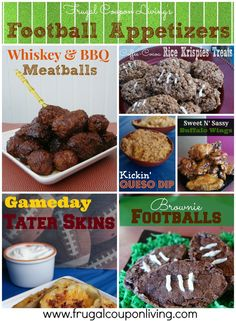 Football Game Day Desserts and Appetizers #football #bowlgame #appetizers Filet Mignon Bites with Bernaise Sauce, Kickin' Queso Dip, Tater Skins, Whiskey & BBQ Meatballs, Sweet N' Sassy Buffalo Wings, Fifty Yard Line Guacamole Dip, Coffee-Cocoa Rice Krispie Treats, Football Brownies