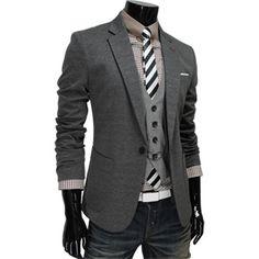 Mens Luxury Stretchy Slim Fit Jacket Blazer GRAY ... for my hubby ... love it :)
