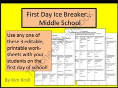 Ice Breaker for the Middle School from Secondary on TeachersNotebook.com -  (4 pages)  - Ice Breaker Activity