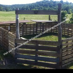 I built this pen for my pigs completely out of pallets. I had to buy a few t-posts, screws and gate hinges. The whole thing cost me about $40!