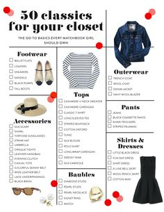 '50 classics for your closet' checklist, read the list then start hitting your favorite thrift and resale stores