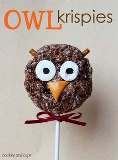 Owl rice krispie pops