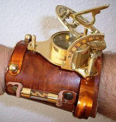 CUSTOM STEAMPUNK ARMLET bracelet sundial & by CoppersmithDesign