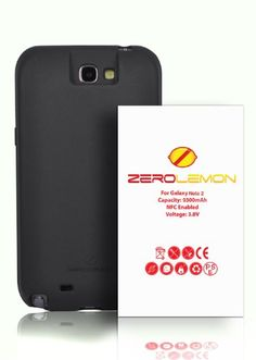 BESTSELLER! [180 days warranty] ZeroLemon Samsung Galaxy Note II 9300mAh Extended Battery + Free Black Extended TPU Full Edge Protecti... $39.99