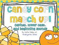 """""""Candy Corn Match Up"""" Activity: Capital, Lower Case & Beginning Sounds (free; from Kindergarten Smiles)"""