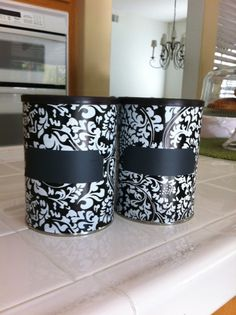 Repurposed coffee cans. i already planned to do this with coffee cans, oatmeal containers, etc.. but i need the reminder! or my mom