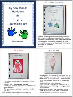 I have added an ABC Handprint activity to 1 - 2 - 3 Learn Curriculum. This can be done during the school year, and binded to make a book or send separate pages home each week. Includes pictures and directions of each handprint. Thank you for viewing and re-pinning. :) Jean  1 - 2 - 3 Learn Curriculum