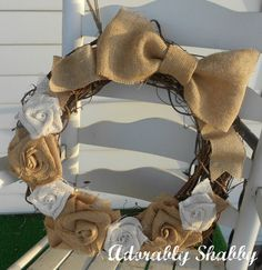 Grapevine wreath with burlap flowers and burlap by AdorablyShabby