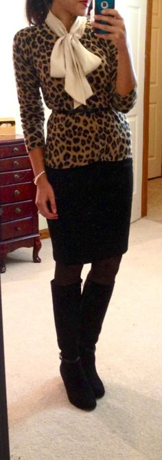 tie neck blouse, bow, leopard cardigan, pencil skirt, boots, skinny belt, work outfit, black and brown