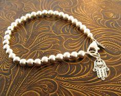 Sterling silver Hamsa Tiffany style bracelet/ Hand of by MayaBelle, $75.00