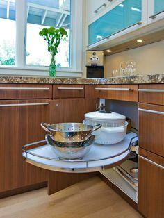 kitchen storage, kitchen corner, corner cabinets