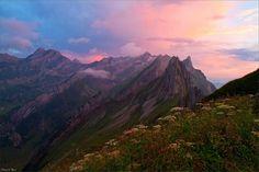Alpstein Mountains in the morning Alpglow, Switzerland;