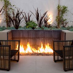 Fire pit built into retaining wall  Modern Retaining Wall Design Ideas, Pictures, Remodel, and Decor - page 44