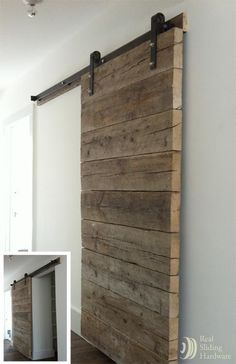 Taking rustic to the next level, an authentic barn board door adds depth and texture to an otherwise contemporary environment.  We provide barn door hardware, track, brackets and wood panels.  Visit our website or visit our showroom in Murray Utah.   www.decorativewoodworkathome.com