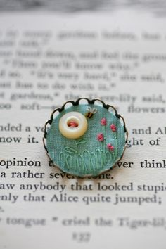 Summertime - Flowers and Bee, Small Brooch - Filled with Vintage Textiles