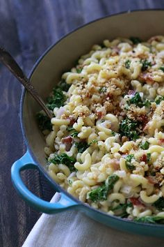 Baked White Cheddar Mac n Cheese with Kale and Bacon