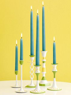 Spray paint and old brass candlesticks! Genius!