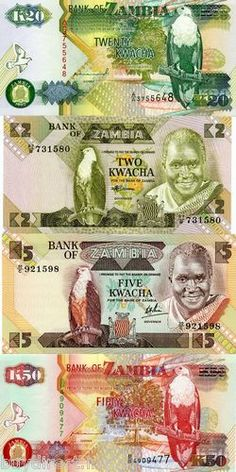 RARE 4 UNCIRCULATED ZAMBIA WORLD BANKNOTES & MOUNTS DISCOVERY COLLECTION SET