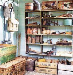 modern gardens, garden tools, potting sheds, potting tables, shed storage, garden design ideas, old crates, modern garden design, garden stuff