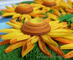 Quilled sunflowers by all things paper, via Flickr