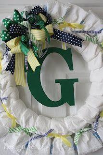 Initial diaper wreath