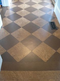 alternating colors of cork flooring.