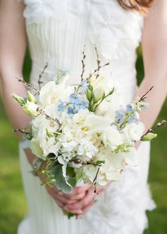 Pale Blue Bouquet Gatsby Inspired Garden Wedding