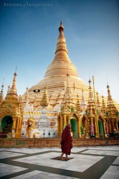 A lone monk wanders Shwedagon Pagoda by Visions of Indochina, Burma, Myanmar via 500px