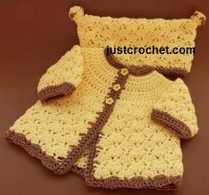 Free newborn free baby crochet pattern http://www.justcrochet.com/coat-hat-usa.html #justcrochet #freebabycrochetpatterns