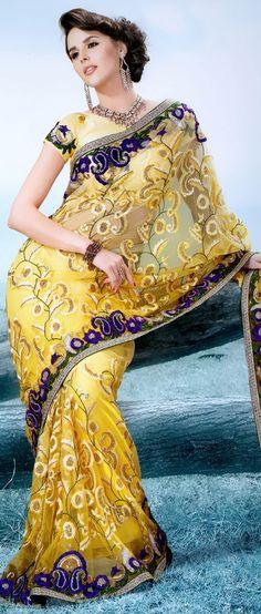 Light Yellow Net Saree With Blouse