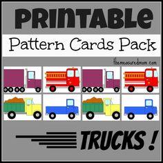 Printable pattern cards for preschool and kindergarten: Trucks!