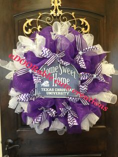 TCU - Home Sweet Home wreath!! This is going to be so cute year round at Kristi's house! #adoorablecute texas Christian university horned frogs purple white wreath chevron polka dot  Created by aDOORable cute creations on Facebook https://www.facebook.com/AdooRableCuteCreations?ref=hl