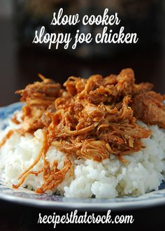 Slow Cooker Sloppy Joe Chicken - So easy and so good! #crockpot