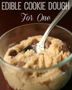 Edible Cookie Dough for One. Great recipe! Makes just enough to have a few bites and save some for later :)