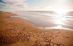 Andreas Amador sand paintings on the California coast