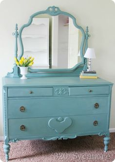 dresser painted in Miss Mustard Seed milk paint - kitchen scale