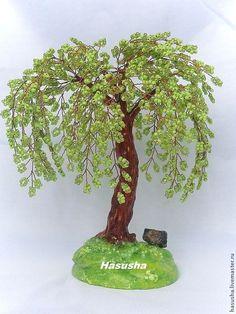 Ива из бисера - салатовый, Дерево из ...