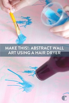 Abstract wall art that's affordable and easy to make. Grab your paints and a hair dryer, and watch how we created this unique and bright wall art!