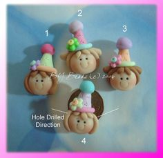 SALE Birthday Girl Polymer Clay Charm Bead Scrapbooking Embelishment Bow Center Pendant Cake Topper. $1.50, via Etsy.