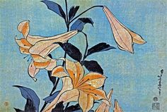 Lilies, Katsushika Hokusai - a needlepoint kit from The Silk Mill complete with all the silks.
