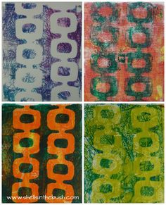 Gelli Prints With New Stencil - Shells in the bush