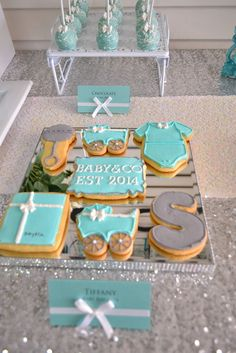 Decorated cookies at a TIFFANY & CO Baby Shower!  See more party ideas at CatchMyParty.com!