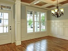 wall colors, dining rooms, craftsman style homes, floor, beauti trim, family rooms, ceiling beams, front doors, trim work