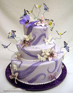 Purple Butterfly Quinceañera Cake