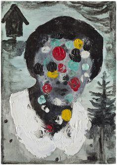 Satu Rautiainen: Girl, 2013. Ink, oil and acrylic on board, 24x17 cm. Photo: Jussi Tiainen.