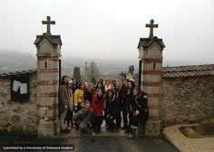 ART in Paris students outside of a cemetery in the foggy French countryside