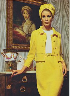 An instantly eye-catching yellow mid-1960s ensemble that would be perfectly at home on this year's season of Mad Men. #vintage #1960s #vintage #retro #fashion #yellow
